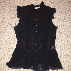 Free People black lace sheer sleeveless top